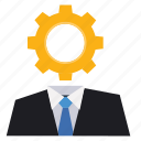 boss, business, customer service, gear, marketing, seo, solution icon