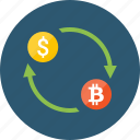 bitcoin, convert, dollar, exchange, money, transaction, transfer icon