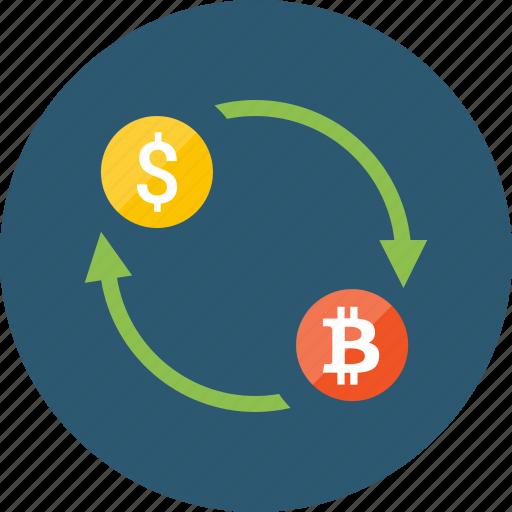bitcoin, convert, dollar, exchange, money, transaction, transfer icon