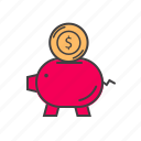 bank, currency, finance, money, piggy icon