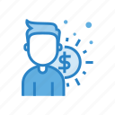 cost, employee, human, person, profile, user, worker icon