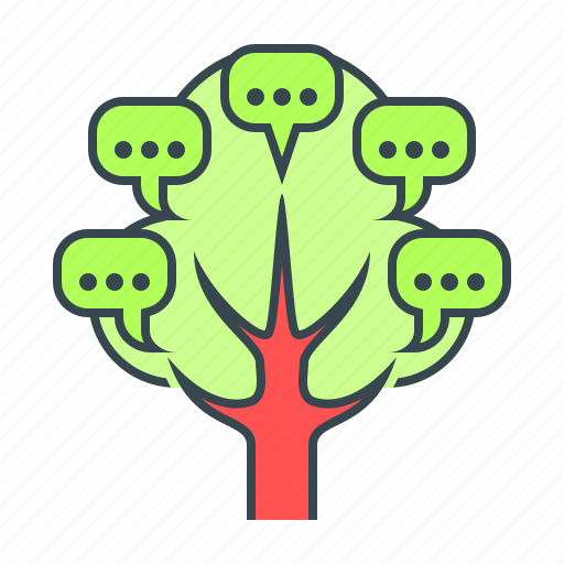 blogging, chat, comment, communication, internet, tree, web icon
