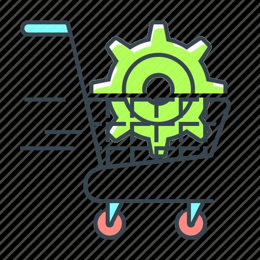buy, cogwheel, commerce, e-commerce optimization, optimization, seo icon