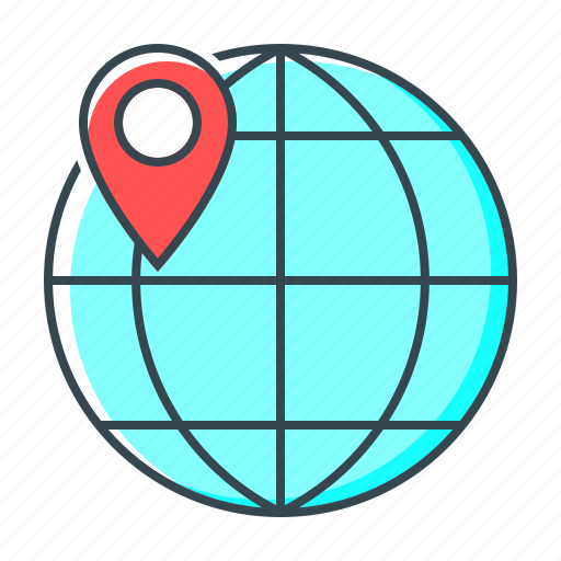 earth, geotargeting, globe, location, navigation, pin, web icon