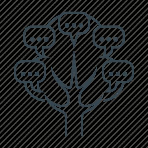 blogging, chat, comment, conversation, dialogue, tree icon