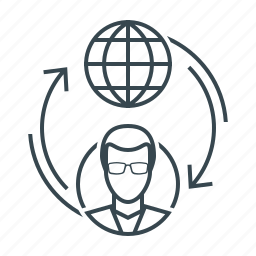 circulation, data exchange, exchange, flow, globe, users icon