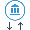 arrow, bank, banking, down, up icon