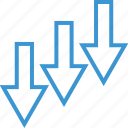 arrows, business, good, growing, low icon