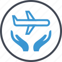 air, airplane, hands, plane, travel icon