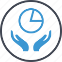 chart, graph, hand, pie, report icon