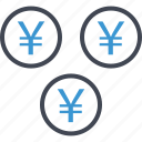 business, coins, money, yen icon