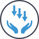 arrows, business, down, low, revenue icon