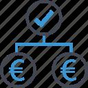 euro, group, money, sign, team icon