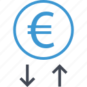 analyze, down, euro, money, sign, up icon