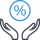 hand, hands, percent, percentage icon