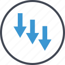 arrows, down, going, money, revenue icon