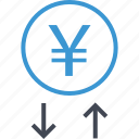 arrow, currency, down, money, up, yen icon