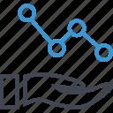analytics, analyze, business, hands icon