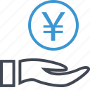 coin, hand, hands, money, yen icon