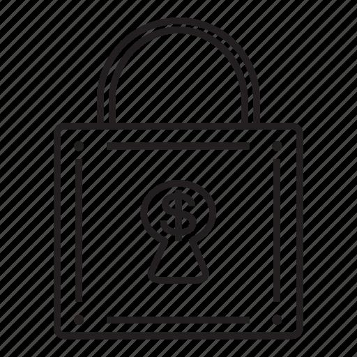 business, finance, lock, money, money locker icon