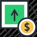 dollar, dollar value, income, profit, up arrow