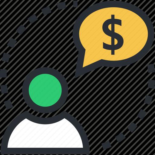 accountant, businessman, financier, investor, speech bubble icon
