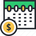 business schedule, calendar, investment planning, office timing, wall calendar icon