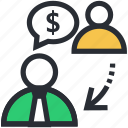 business meeting, businessman conversation, communication, discussion, financial meeting icon
