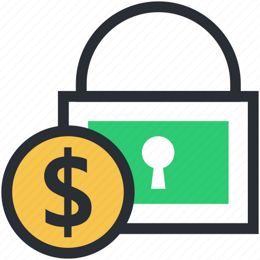 bank safety, dollar sign, financial lock, financial security, safe banking icon