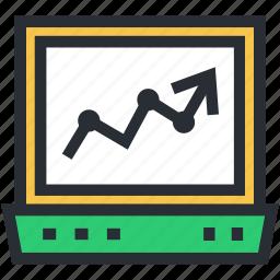 diagram, laptop, online analytics, online graphs, online infographics icon