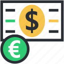 banknote, dollar, euro, paper money, paper note icon