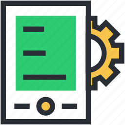 cog, cog with tablet, cogwheel, settings, tablet setting icon