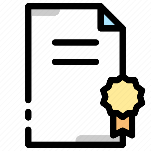 award, certificate, document, license icon