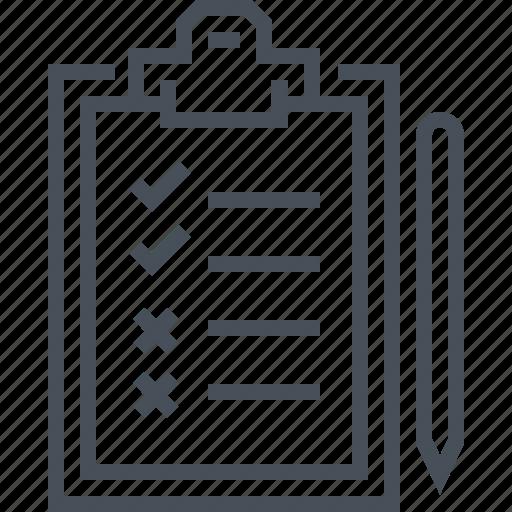 list, paper, pen, plan, survey, test, to do list icon