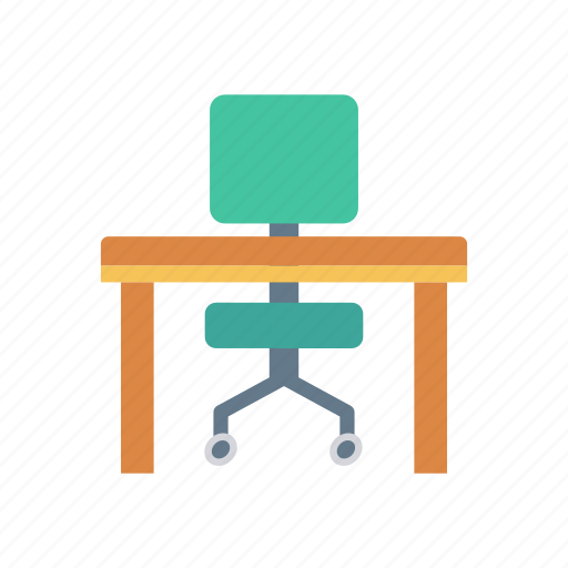 chair, desk, home, office icon