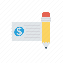 cash, check, invoice, money icon
