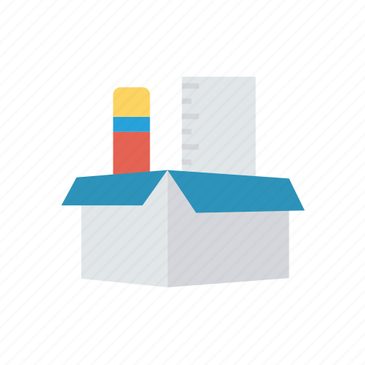 box, pencil, scale, writing icon