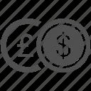 currency, dollar, euro, finance, yen icon