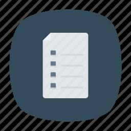 bill, document, file, list icon