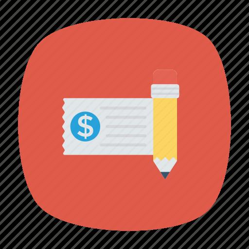 cash, check, invoice, money icon