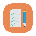checklist, clipboard, notepad, pencil icon