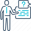 customer, faq, help, information, question, service icon
