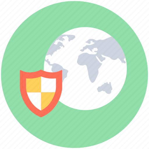 global security, globe, internet security, protection shield, shield icon