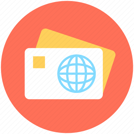 bank card, cash card, credit card, international card, plastic money icon