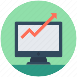 analytics, business analytics, graph, graph screen, monitor icon