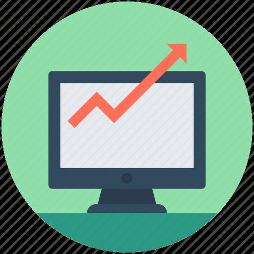 analytics, business analytics, graph, graph screen, monitor icon