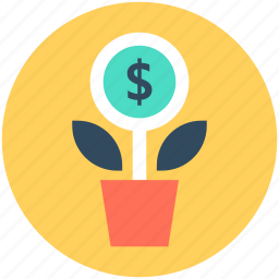 business expand, business growth, dollar growing, dollar plant, investment icon