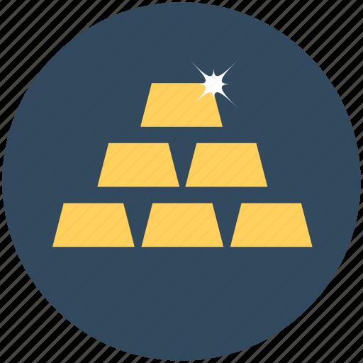 blocks, cubes, gold, gold bar, gold biscuits, gold bricks, gold ingots icon
