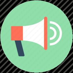 bullhorn, loud hailer, megaphone, speaker, speaking trumpet icon
