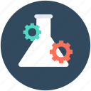 experiment, flask, gear, research, testing icon